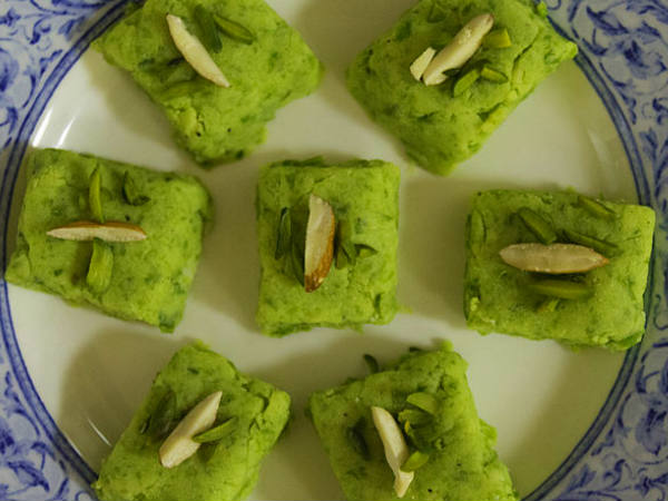Green Peas and Pista Burfi